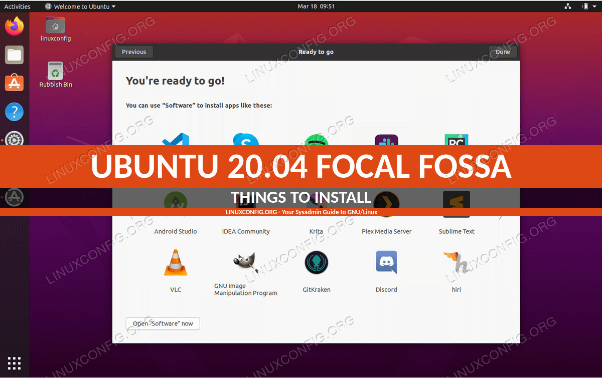 Things to install on Ubuntu 20.04 Focal Fossa