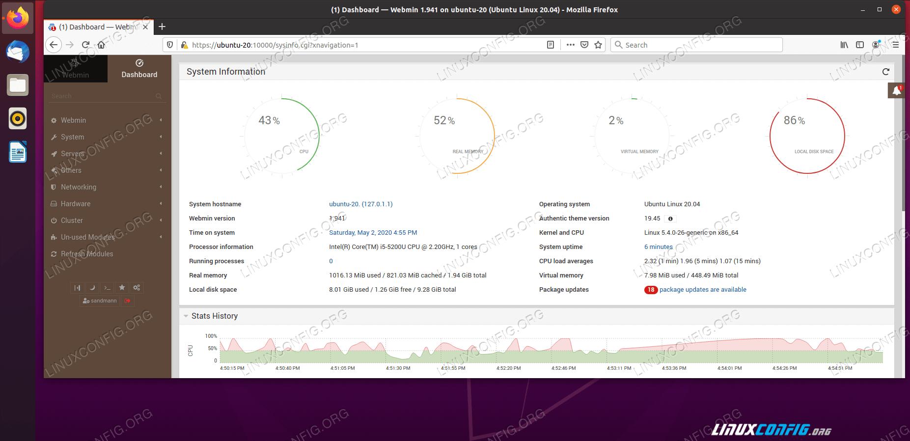 Webmin Dashboard on Ubuntu 20.04