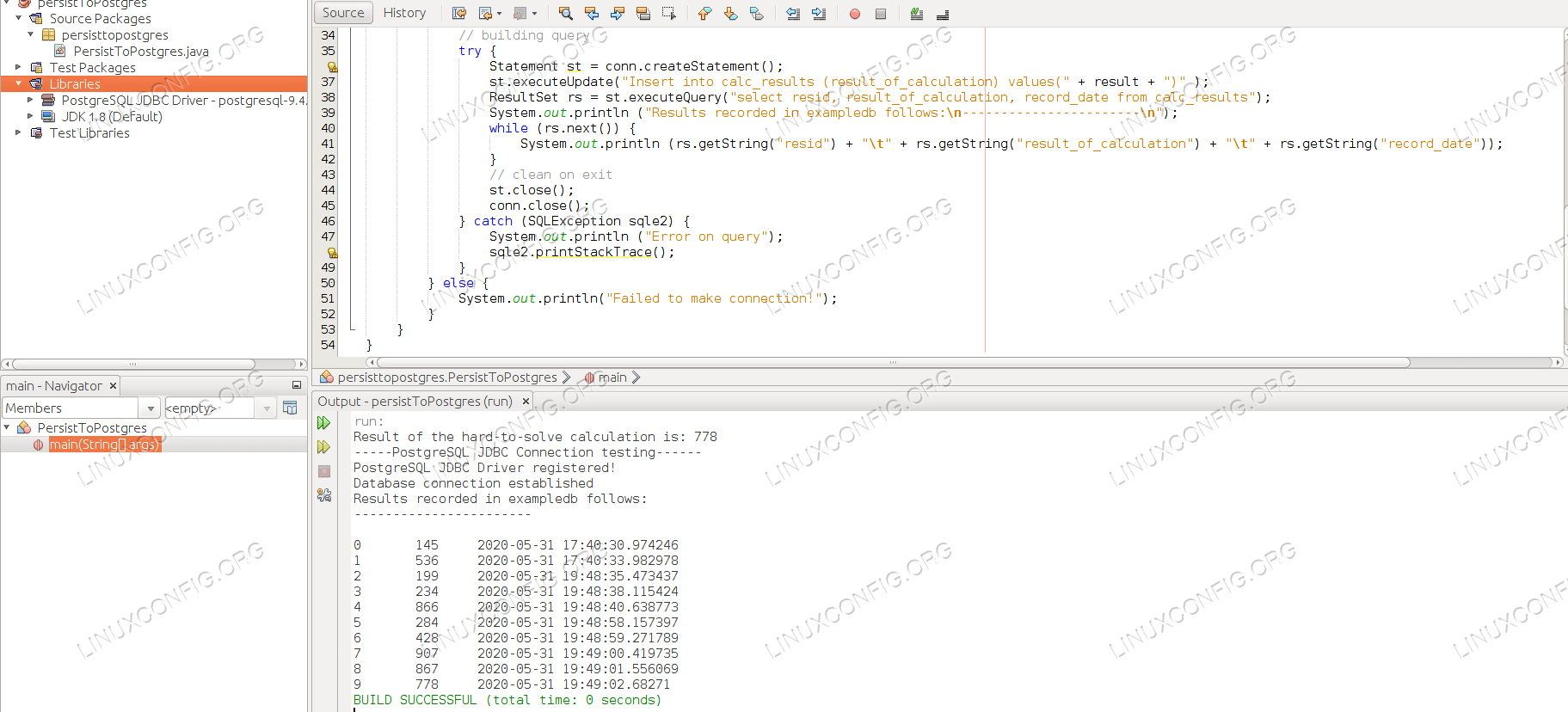 Database output shows the results of every execution of the application