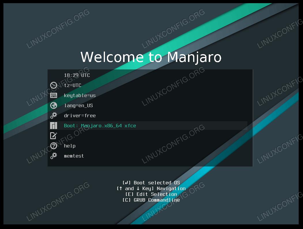 Manjaro boot menu