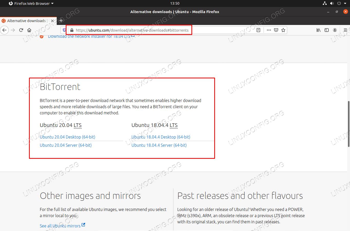 Torrent download options from Ubuntu website