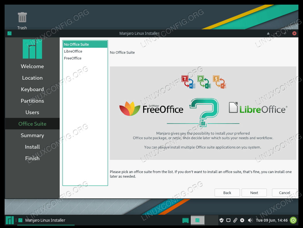 Select office suite for Manjaro