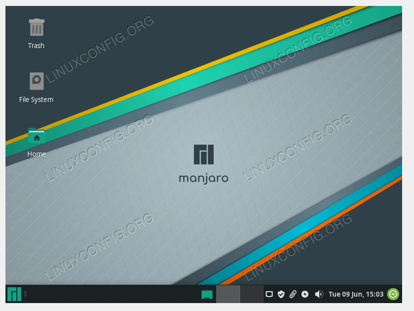 A new installation of Manjaro Linux, running Xfce desktop environment