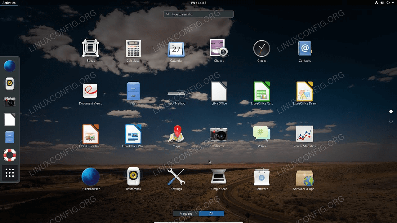 PureOS LiGNUx with GNOME desktop environment