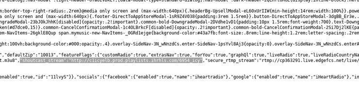A SHOUTcast URL in website source code