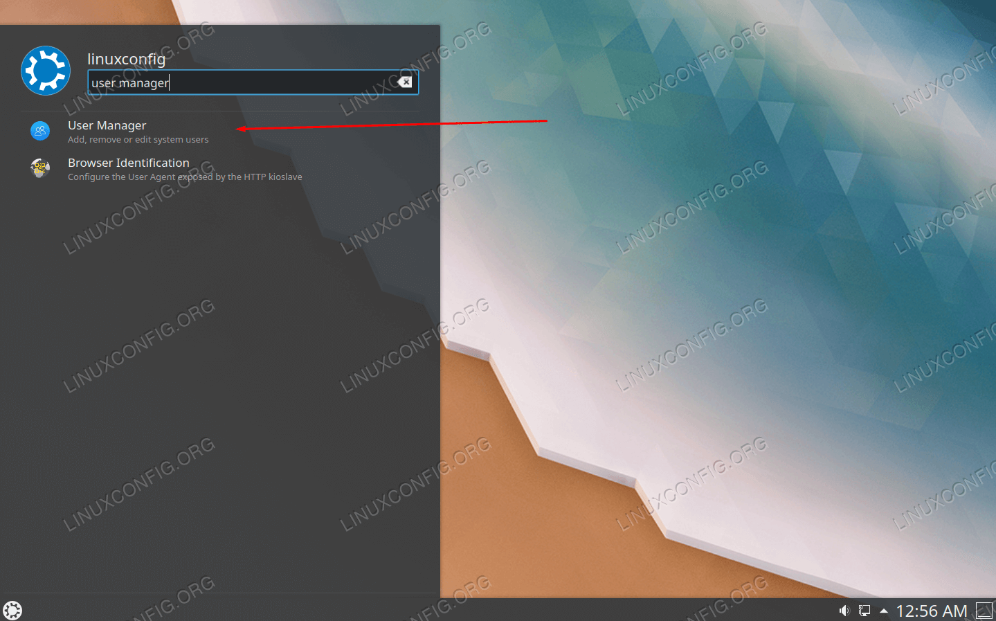 Search for User Manager in KDE