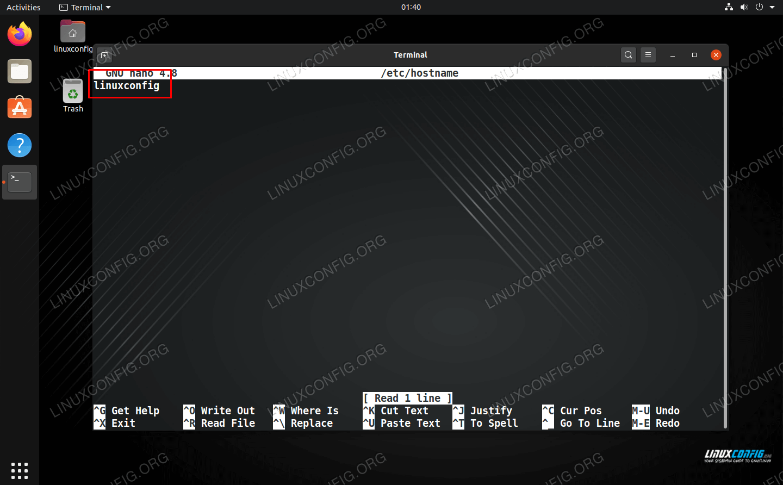 Editing the /etc/hostname file