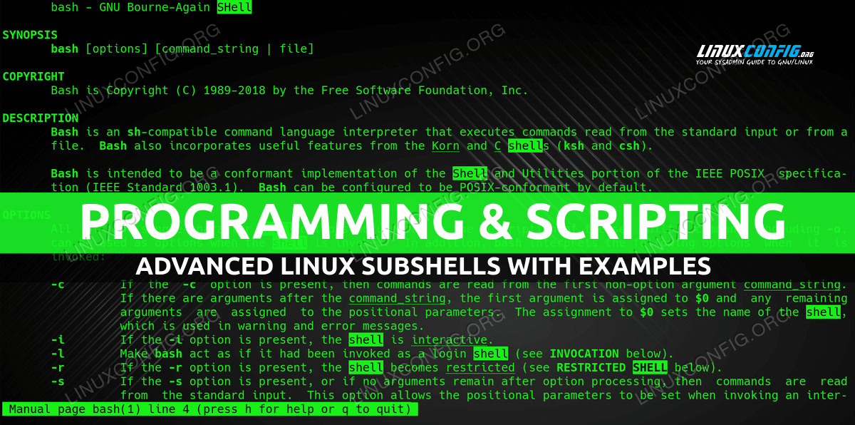 Advanced Linux Subshells With Examples