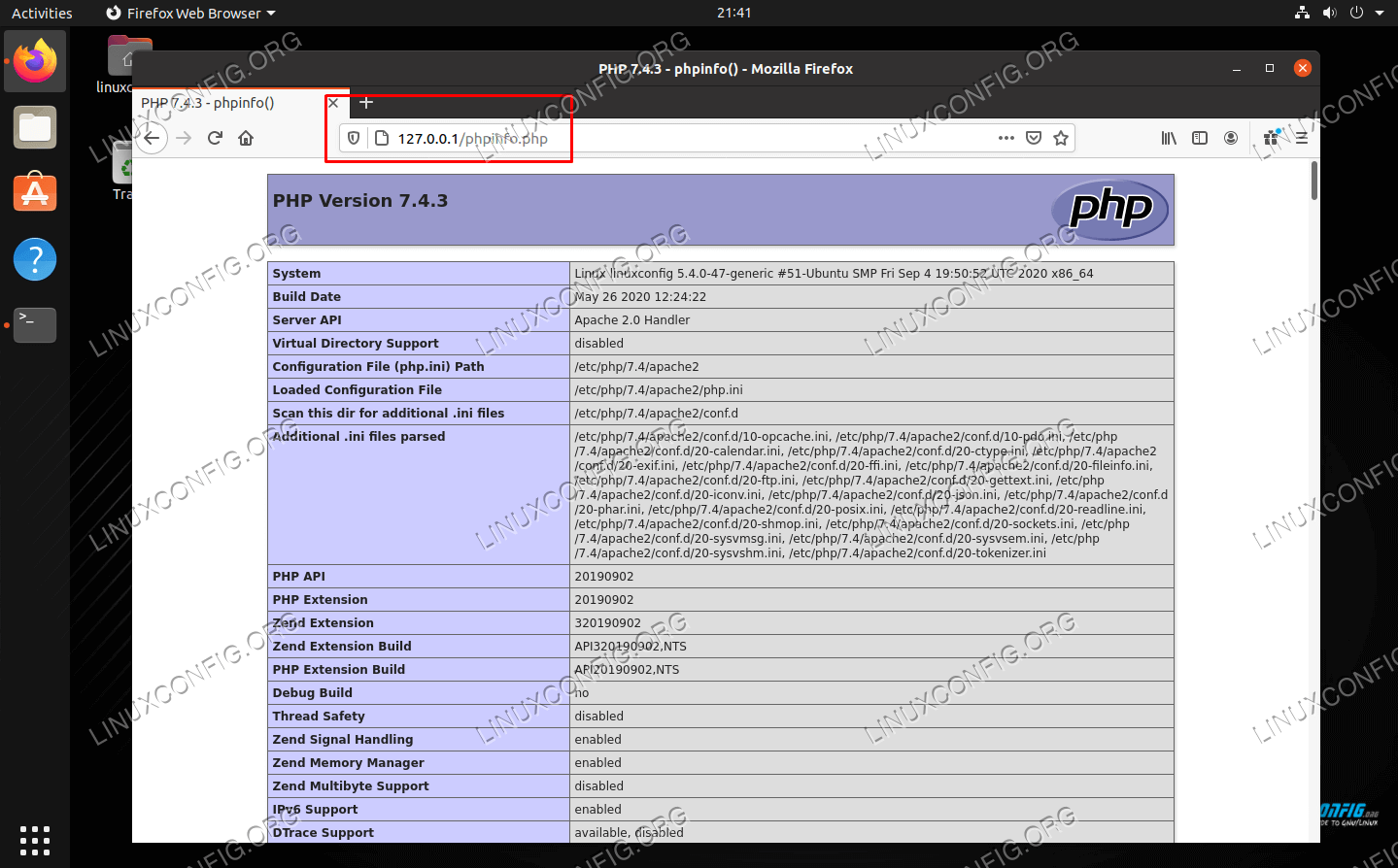 phpinfo PHP page accessed from web browser