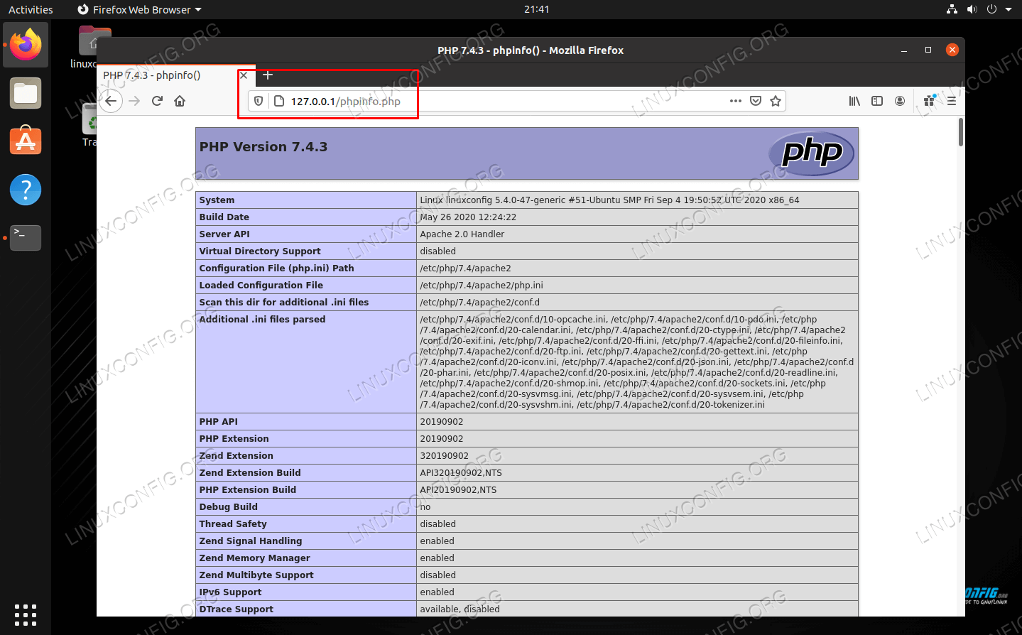 phpinfo page on a Linux system