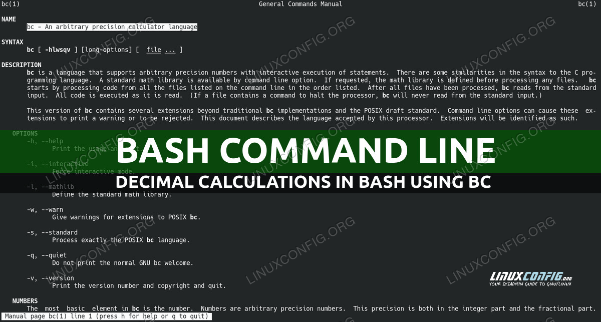 How to Make Decimal Calculations In Bash Using bc