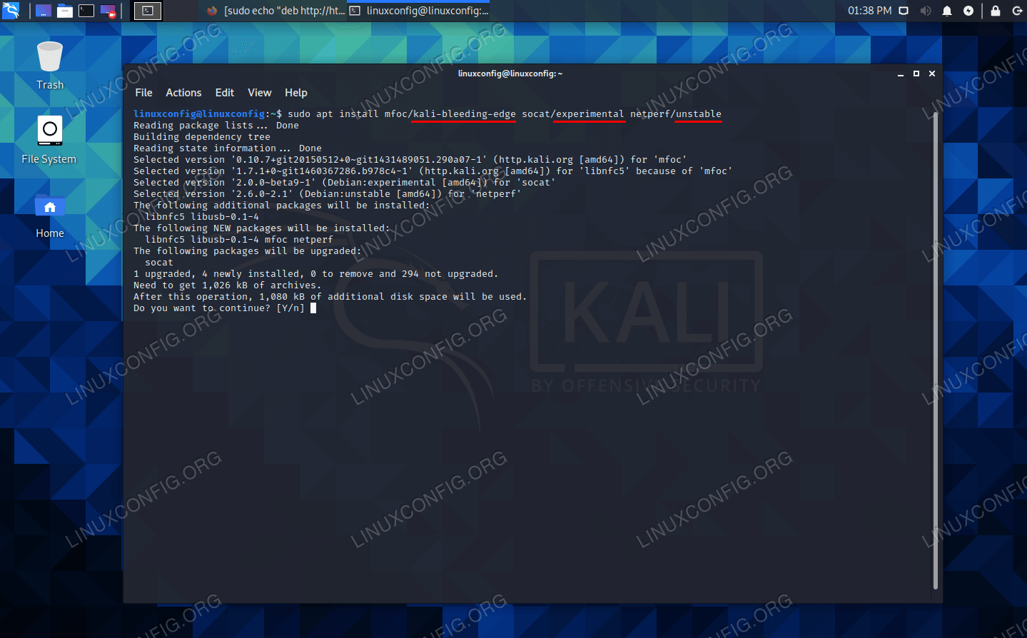 Installing packages from the bleeding edge, unstable, and experimental repos on Kali