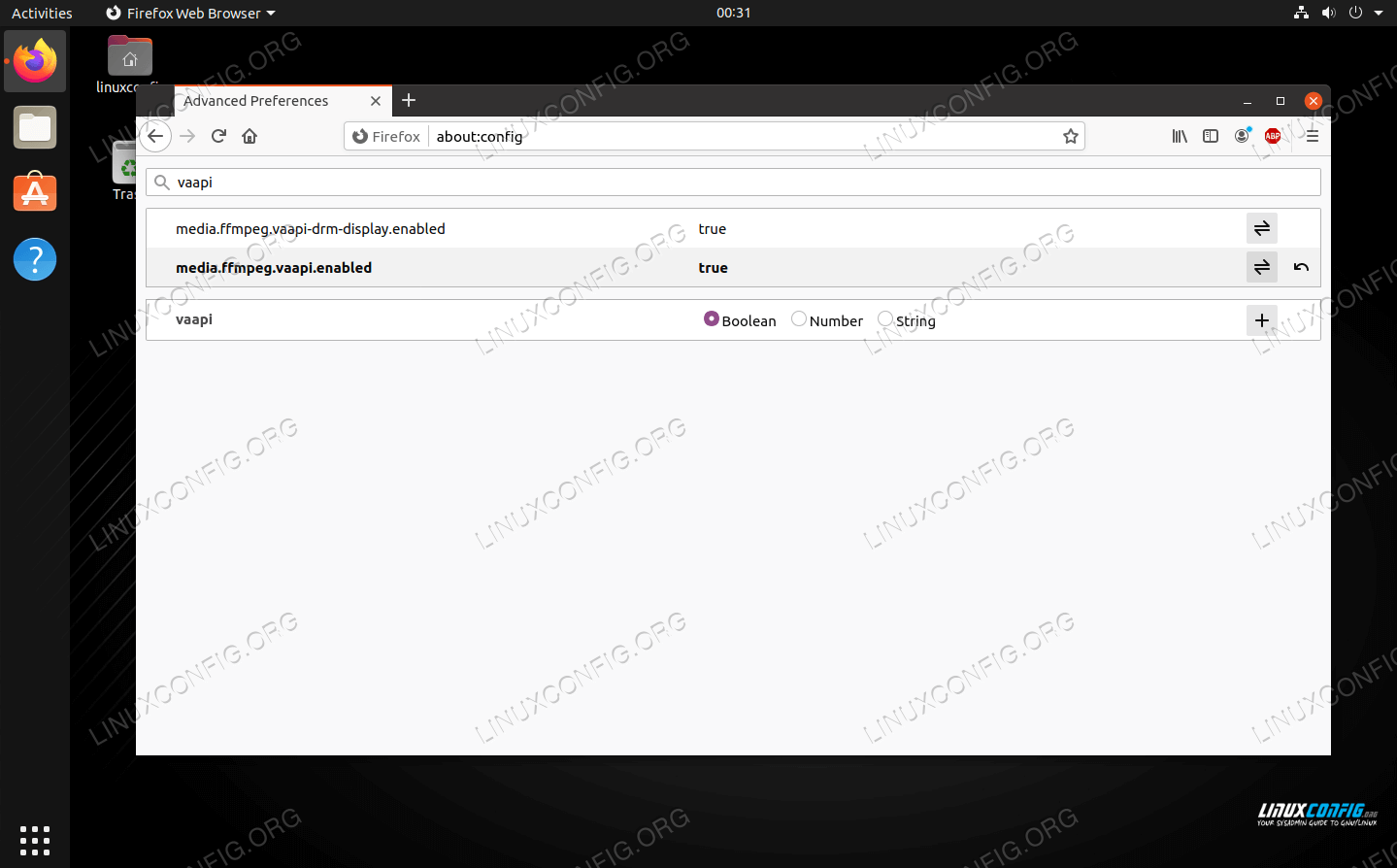 VA-API setting enabled in Firefox on Linux