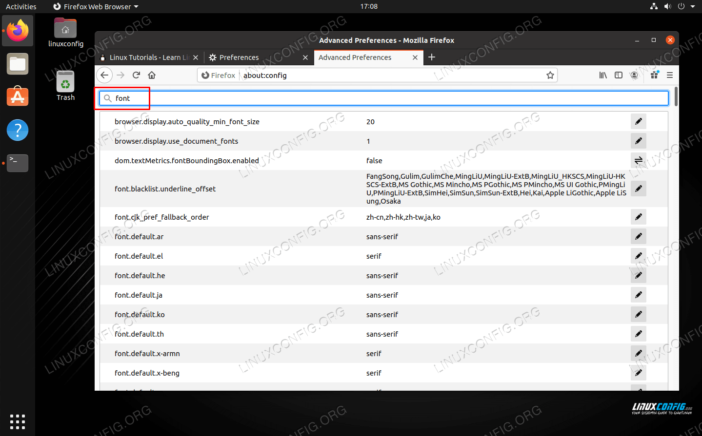 All font related settings in the Advanced Preferences menu