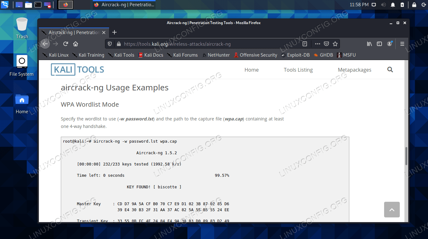 Searching for packages to install on the Kali Linux site, which includes usage examples