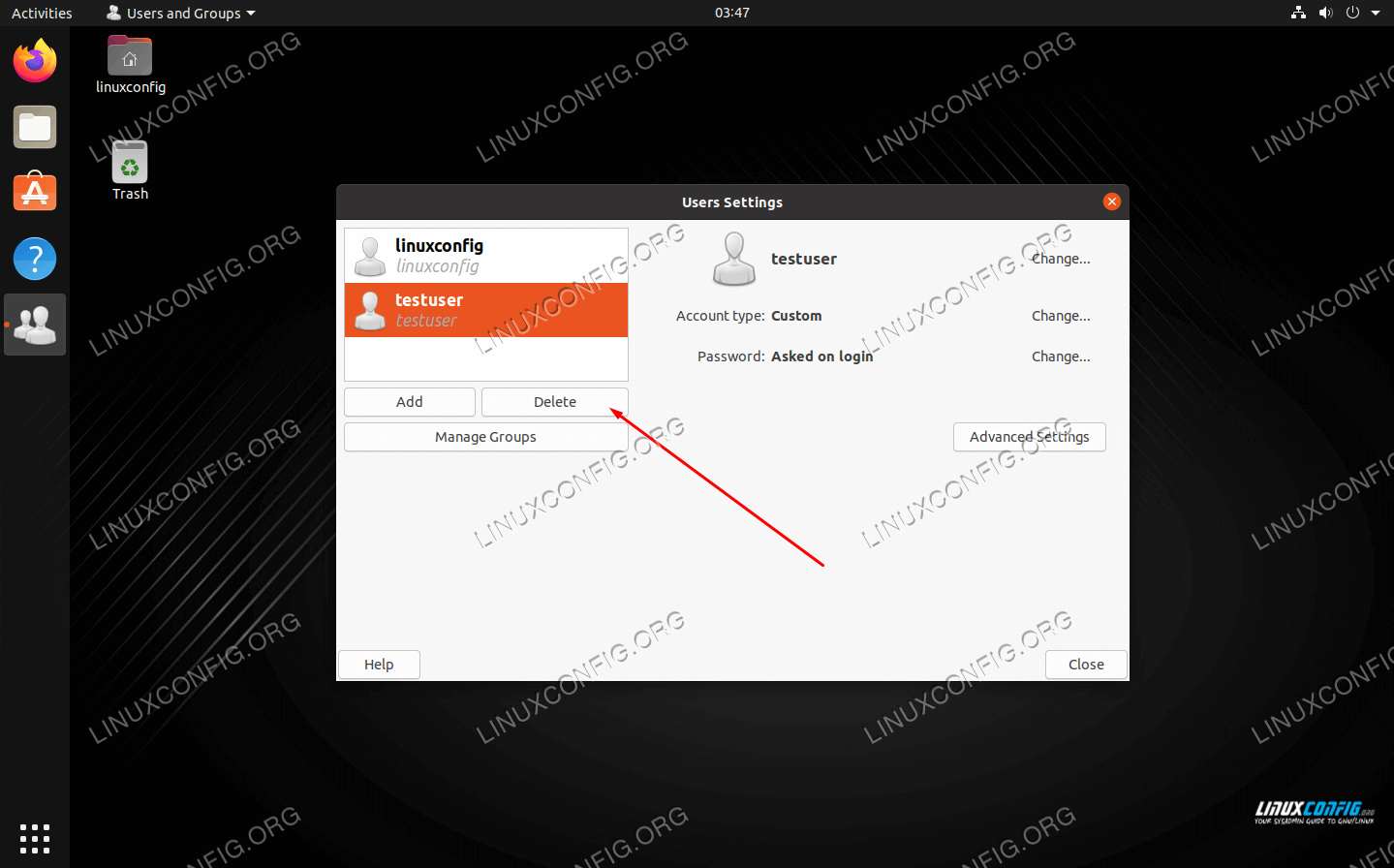 Highlight the user and click the delete button