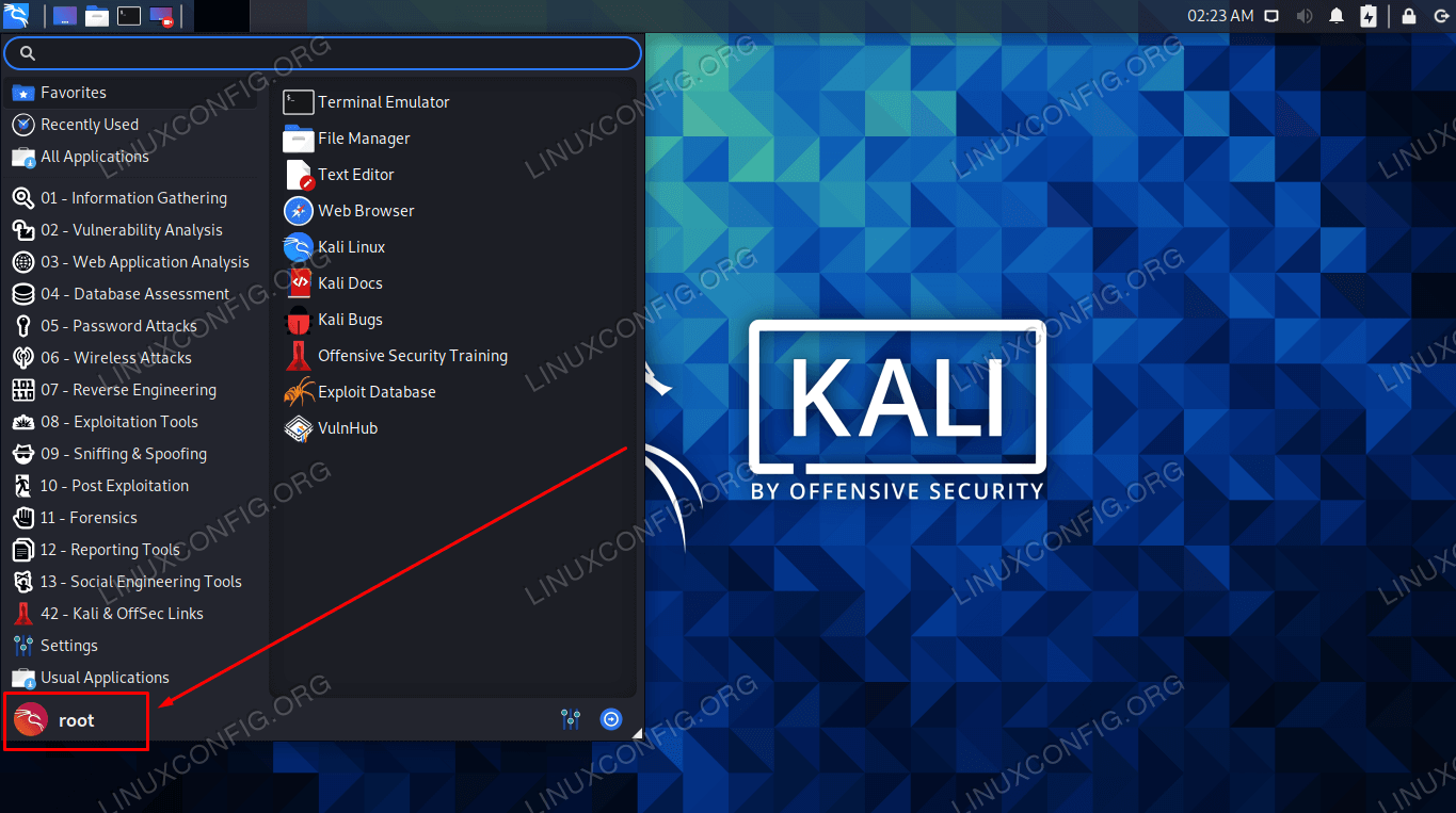 Logged into the root account in GUI on Kali Linux