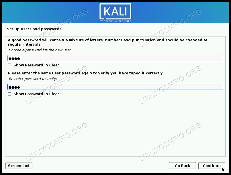 Choose a user and root password
