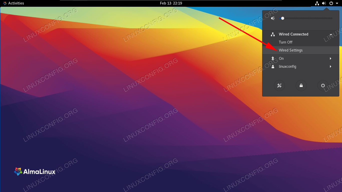Open the settings menu of GNOME