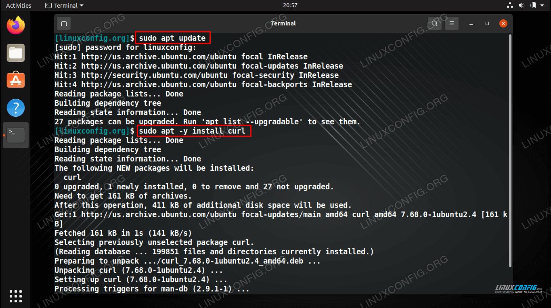 Installing curl on Ubuntu