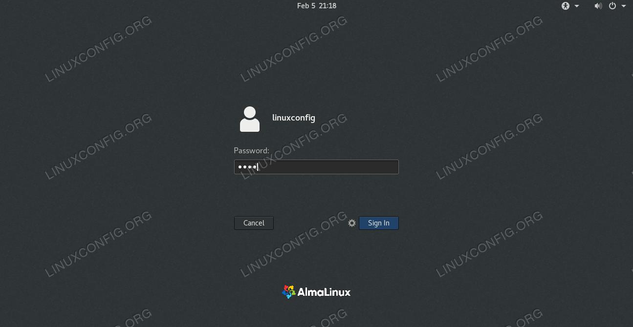Login to AlmaLinux