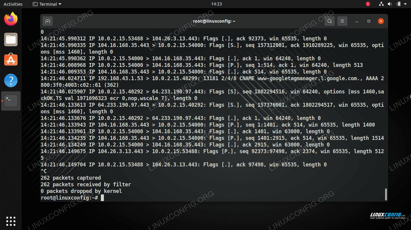 Using tcpdump command to capture network traffic on Linux