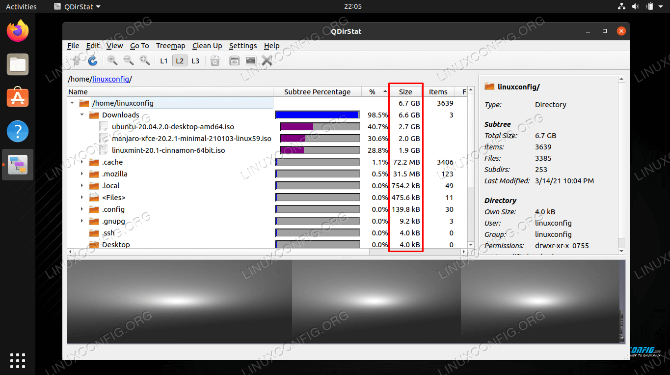 Finding large files on Linux