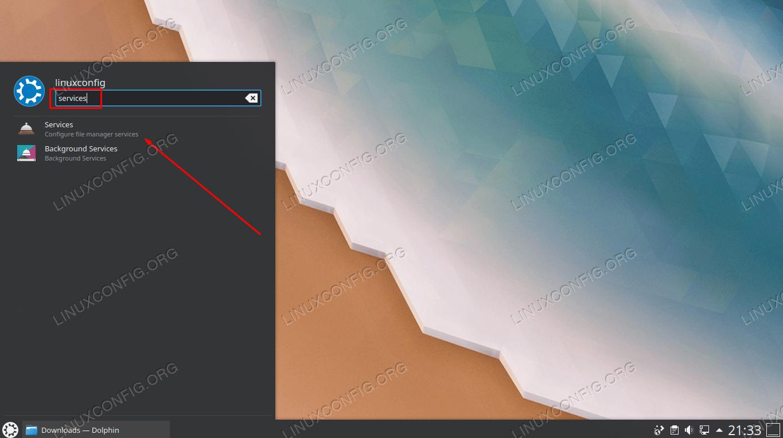 Open the services configuration menu
