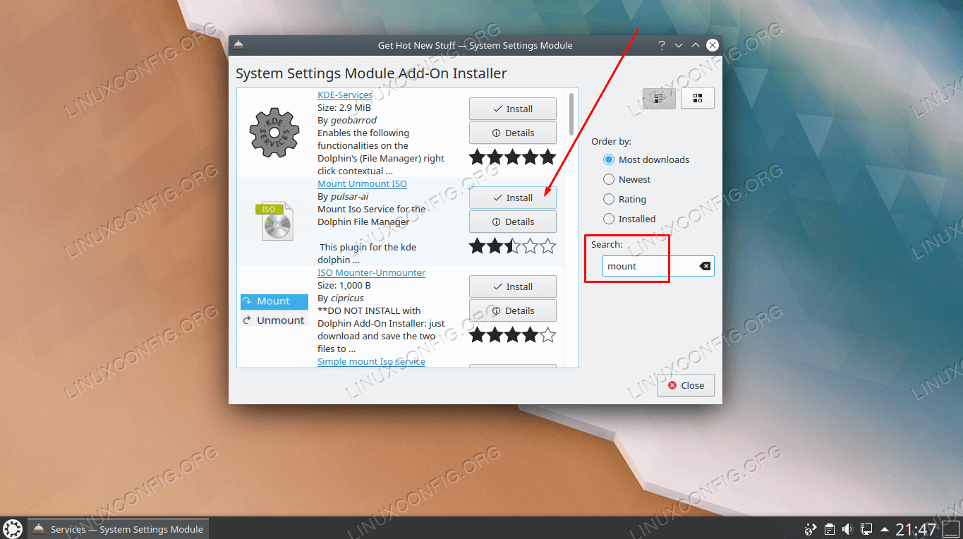 Install one of the add-ons to enable mounting ISO files through right click