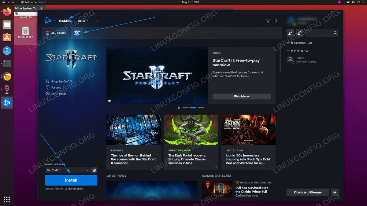 Locate the Starcraft 2 in the Battle.net store and begin the installation.