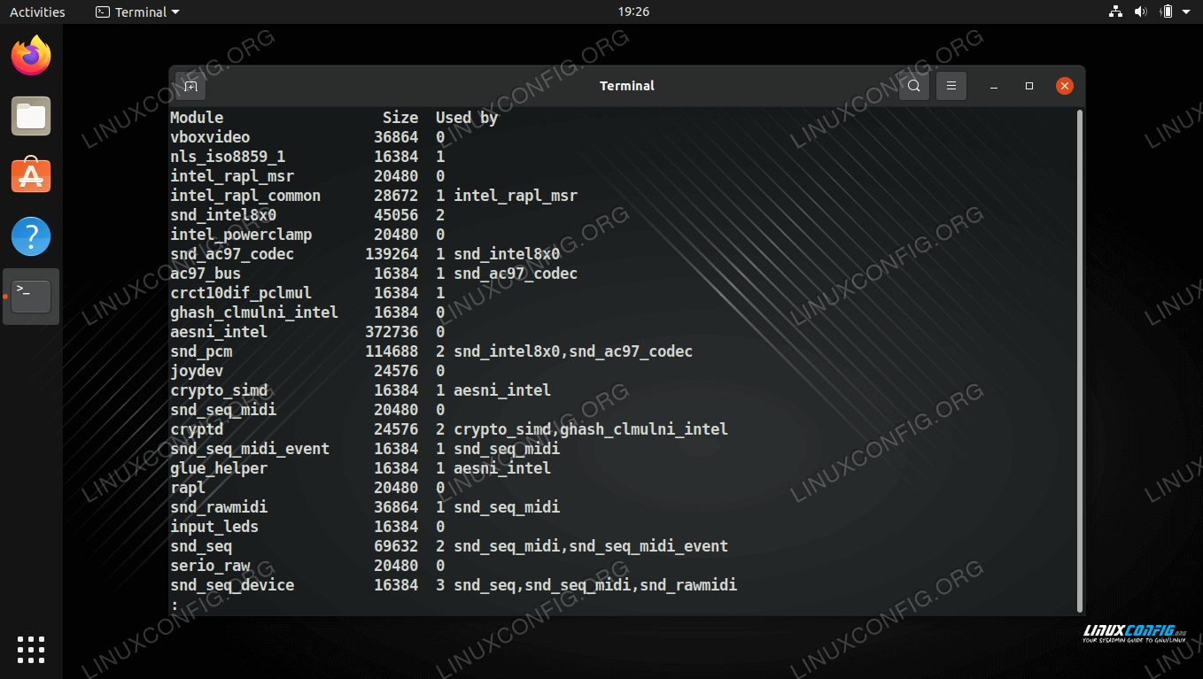 Viewing the modules that are currently loaded into the running kernel