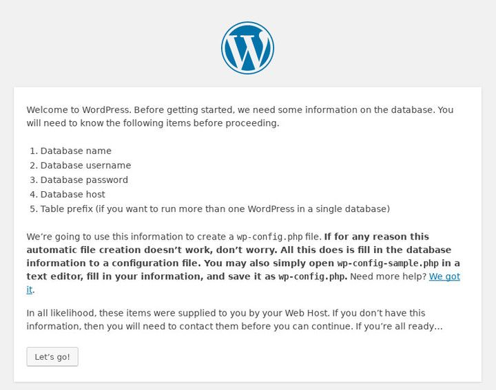Initial Startup Of The WordPress Installer on Debian Stretch