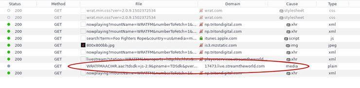 A radio stream in Firefox Dev Tools