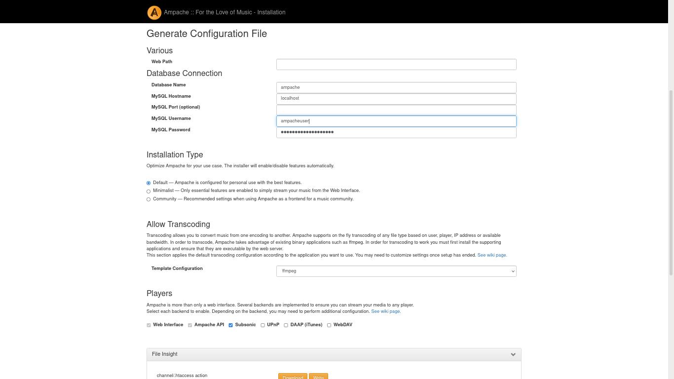 Ampache web installer - generating the configuration