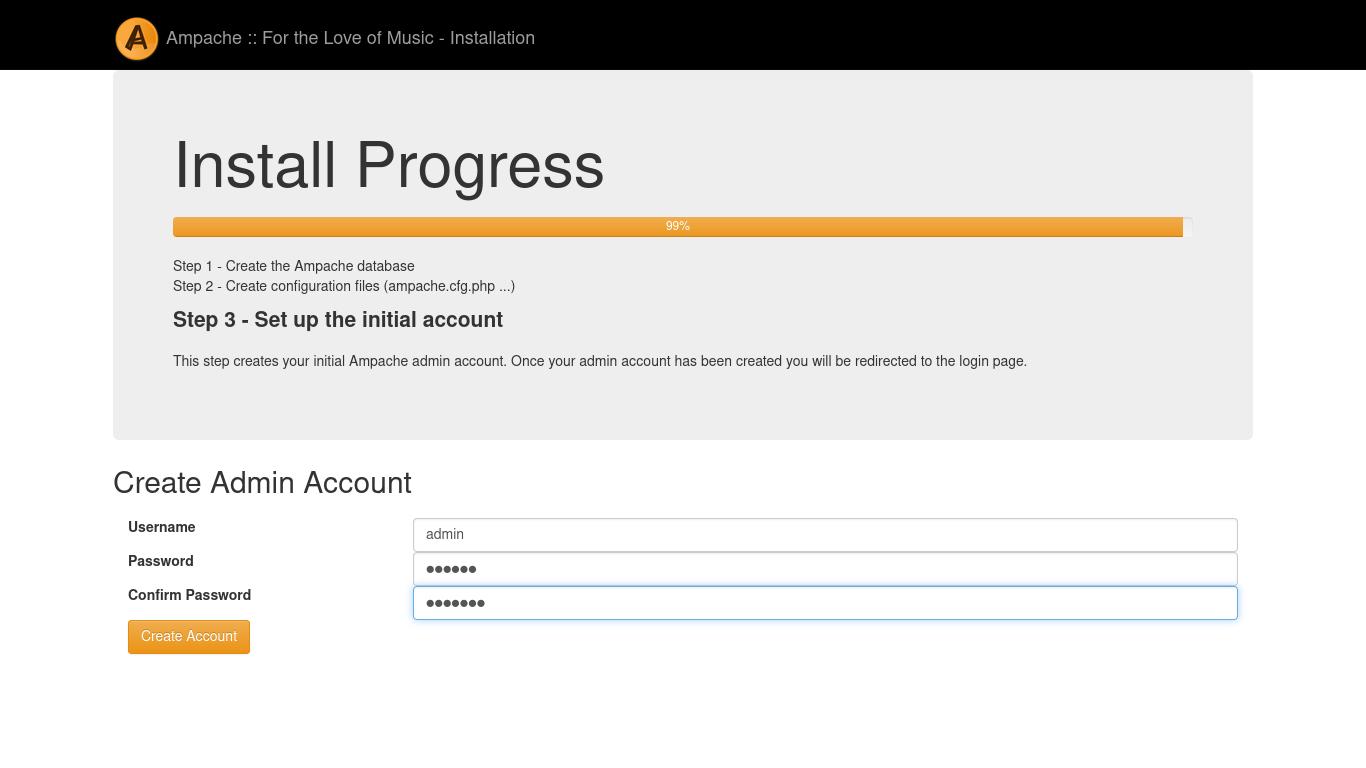 ampache raspberry pi web installer - creating admin account
