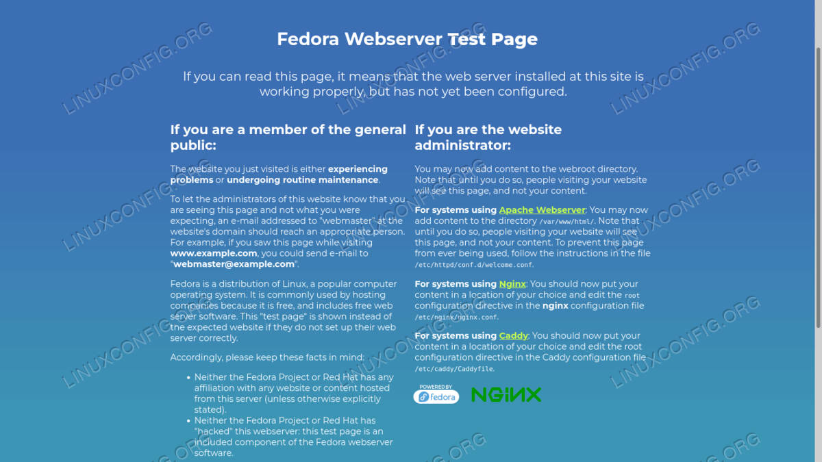 Nginx welcome page on Fedora